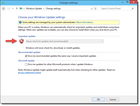 How To Disable Windows Update in Windows 10 Technical Preview - Setting Changed to Never install updates